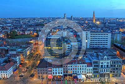 Antwerp aerial at twilight, Belgium
