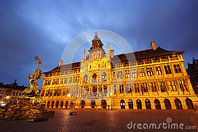 Antwerp (Anvers) city hall and statue from Grote Markt, Belgium (by night)