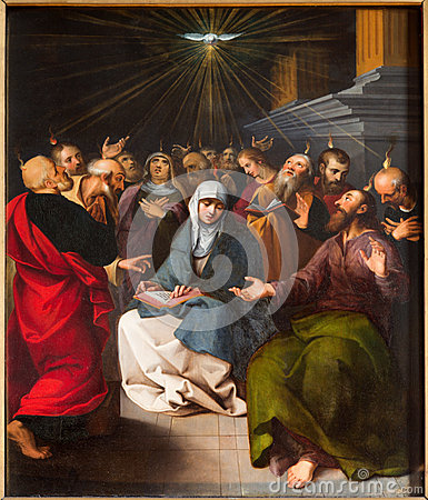 Free Antwerp - Paint Of Pentecost Scene From Cathedral Stock Photos - 35755143