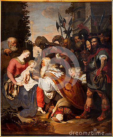 Antwerp - Three Magi scene by Artus Wolffort from years 1615 - 1620 in the cathedral of Our Lady