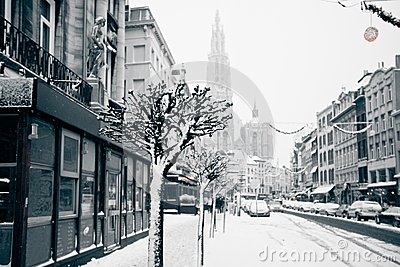 Antwerp at winter snowstorm.