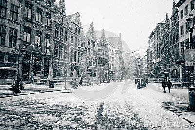 Antwerp at winter snowstorm