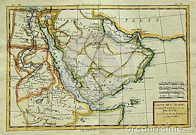 Antykwarska mapa półwysep arabski & Wschodni Afryka