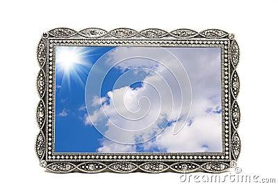 Antykwarski ramowy metalu fotografii obrazek