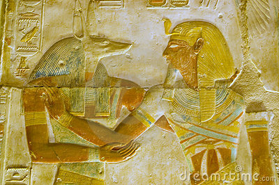 Anubis and Pharoah Seti carving