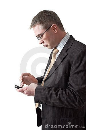 Anxious businessman  with  smartphone