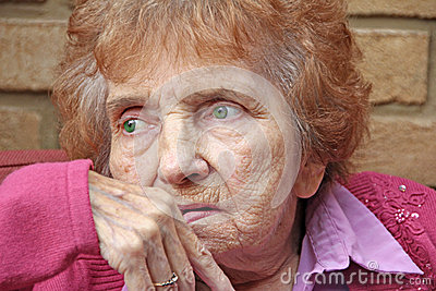 Anxious vulnerable looking pensioner