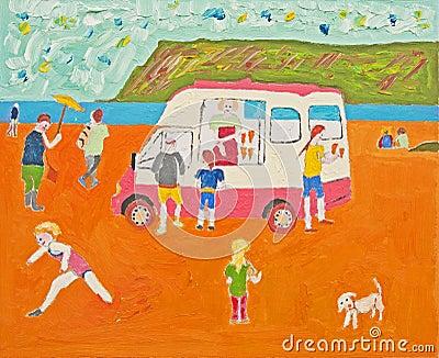 Anybody for ice cream ? Oil on canvas.