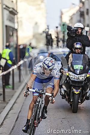 Ação agradável da raça de ciclagem de Paris Fotografia Editorial
