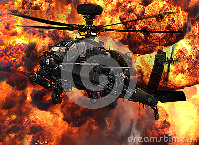 Apache gunship helicopter explosion