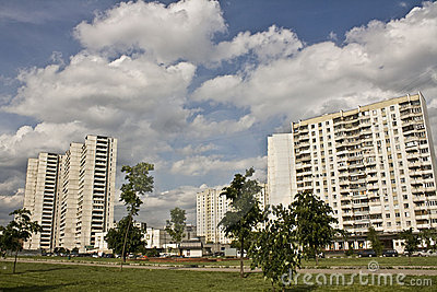 Apartment blocks in a new district