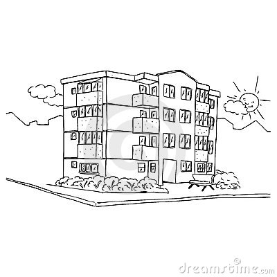 stylish apartment buildings - Apartment Building Coloring Pages