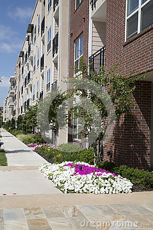 apartment building with garden stock photo image 40804951