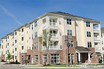 Apartment building in suburban area