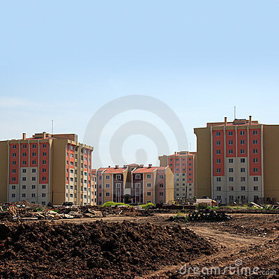 Apartment buildings from construction zone