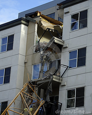 Apartment collapse in downtown bellevue Editorial Stock Image