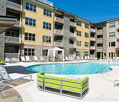 Apartment complex court exterior