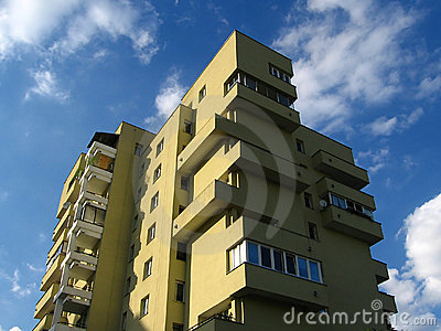 Apartment house in clouds
