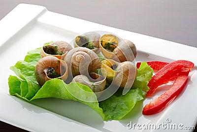 Aperitivo dos caracóis na manteiga de alho