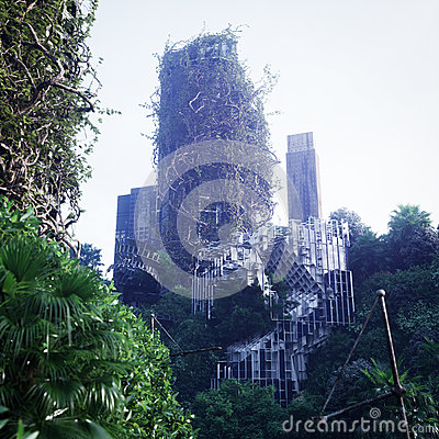 Free Apocalyptic Concept Background Of Futuristic And Abandoned City Royalty Free Stock Image - 75259706