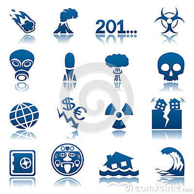 Apocalyptic and natural disasters icon set