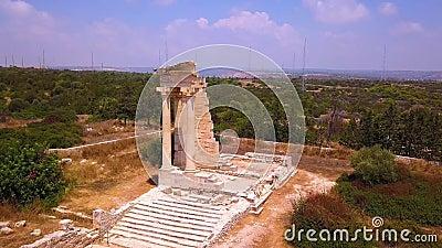 Apollo Hylates Kourion Cyprus flyg 4 k lager videofilmer