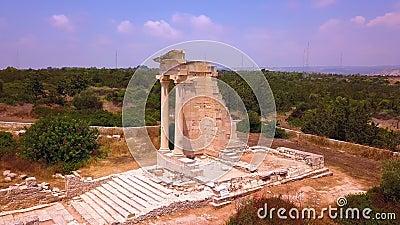 Apollo Hylates Kourion rovina l'aereo di Cipro 4k archivi video