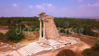 Apollo Hylates Kourion ruiniert Zypern Luftfahrzeug 4k stock video