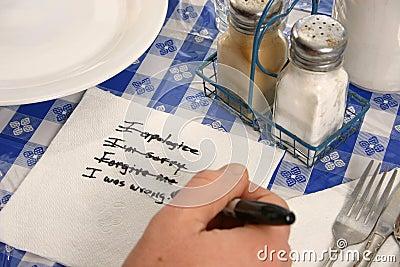 Apology on a napkin