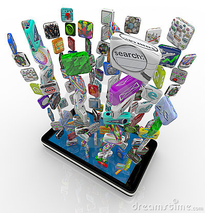 Free App Icons Downloading Into Smart Phone Royalty Free Stock Images - 18030869
