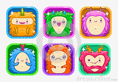 App icons with funny cartoon colorful monsters. Vector Illustration