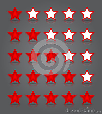 App icons glass set. Five glossy red stars ratings