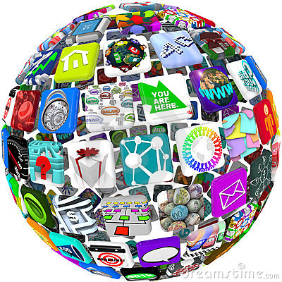 Free App Icons In A Sphere Pattern Royalty Free Stock Images - 16712589