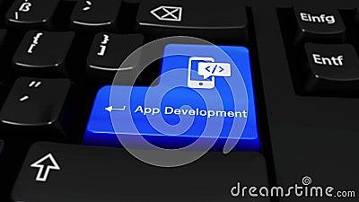 445 App Ontwikkeling om Motie op de Knoop van het Computertoetsenbord stock video