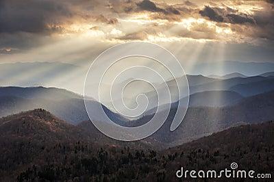 Appalachian Mountains Crepuscular Light Rays on Blue Ridge Parkway Ridges NC