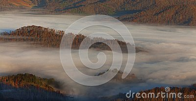 Appalachian mountains at sunrise and clouds