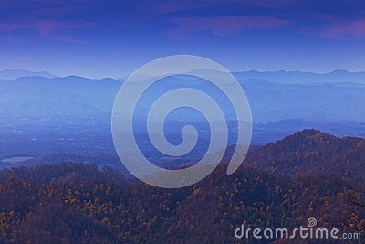 Appalachian mountains at sunset and blue mist