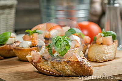 Roasted Tomato And Fresh Mozzarella Bruschetta Recipe — Dishmaps