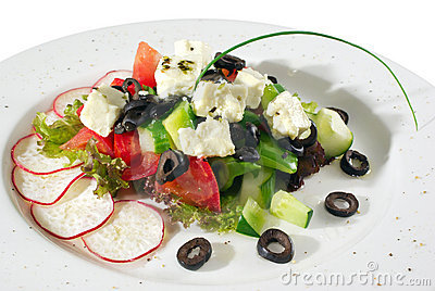 Appetizer with feta cheese isolated