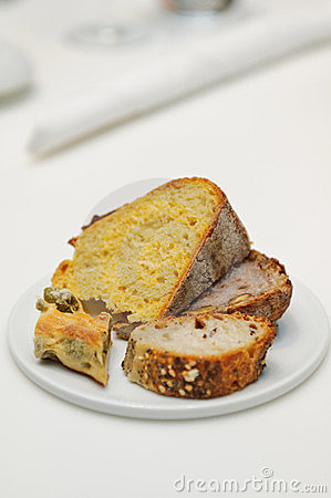 Appetizer of four kinds of fresh bread