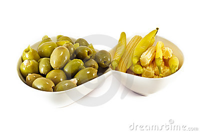 Appetizer - Olives Yellow Hot Papers and Baby Corn