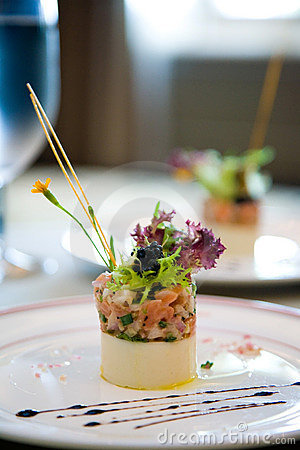 Appetizer served with vegetables