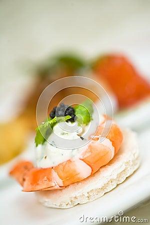 Appetizer of shrimp with caviar