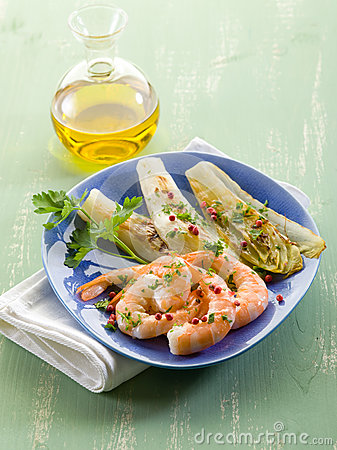 Appetizer with shrimp and grilled