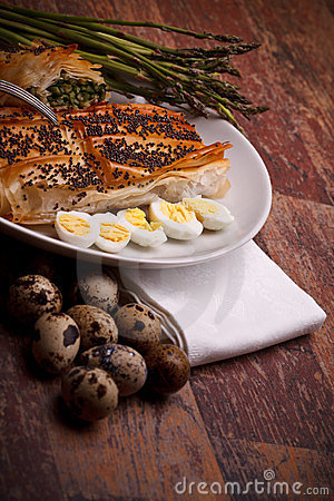 Appetizers - Asparagus In Crust With Quail Eggs