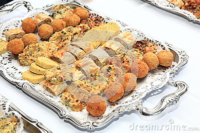 Appetizers on Silver Platter