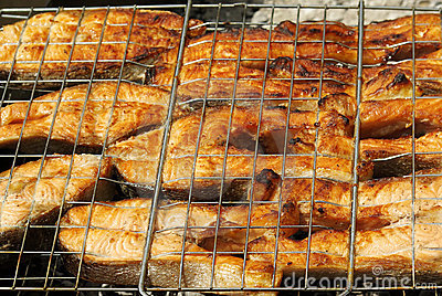Appetizing barbecue from a red fish