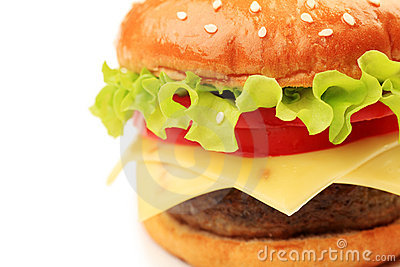 Appetizing cheeseburger