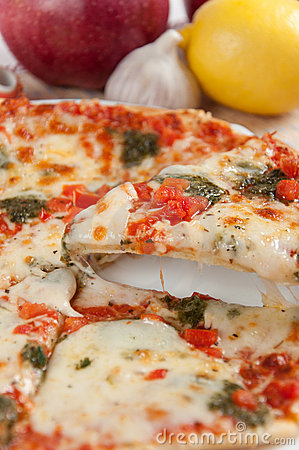 Free Appetizing Pizza With Mozzarella Cheese Royalty Free Stock Image - 21780696