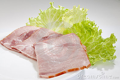 Appetizing sliced ham close-up
